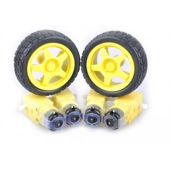 4 комплекта колесо + мотор с редуктором 1:48